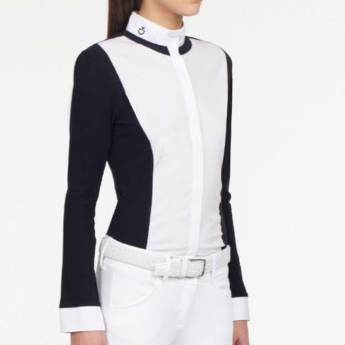 Camisa de concurso blanca y azul marino para mujer modelo Gala de Cavalleria Toscana