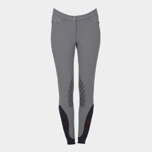 Pantalones knee grip de montar grises para mujer modelo CT Grip system de Cavalleria Toscana
