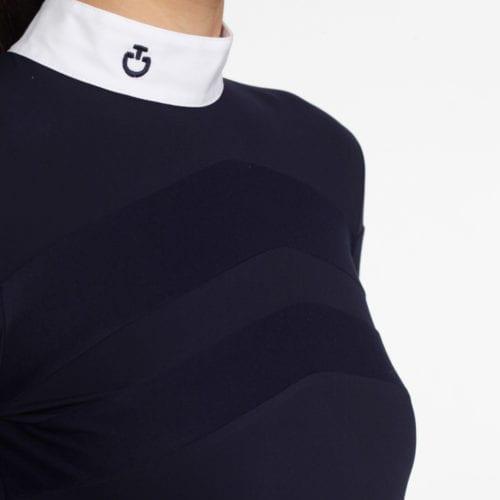 Camiseta de concurso azul marino con detalles blancos para mujer modelo Technical Show Polo de Cavalleria Toscana