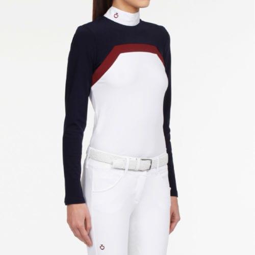 Camiseta de concurso blanca, azul marino y granate para mujer modelo Frame Line Show de Cavalleria Toscana