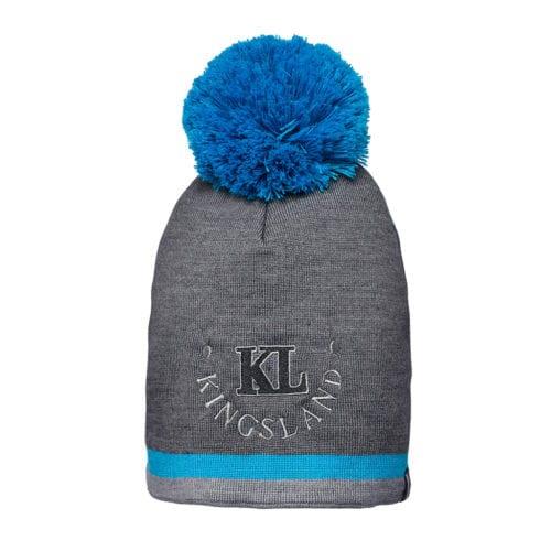 Gorro de lana gris oscuro con escudo en la frente y pompón azul unisex modelo Valdez de Kingsland