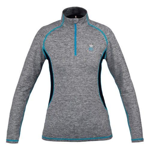 Camiseta gris de entrenamiento con detalles en azul para mujer modelo Bernida de Kingsland