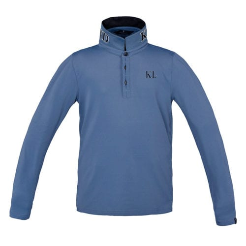 Polo azul con logo azul marino y blanco en el cuello y el pecho junior modelo Dufourspritze de Kingsland