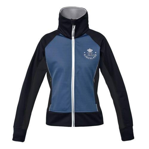 Chaqueta en combinación de azul y azul marino impermeable con cuello alto y escudo en la espalda para mujer modelo Marbel de Kingsland