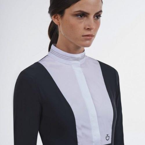 Camisa gris oscuro con detalles en blanco y plateado para mujer modelo Ball Chain de Cavalleria Toscana