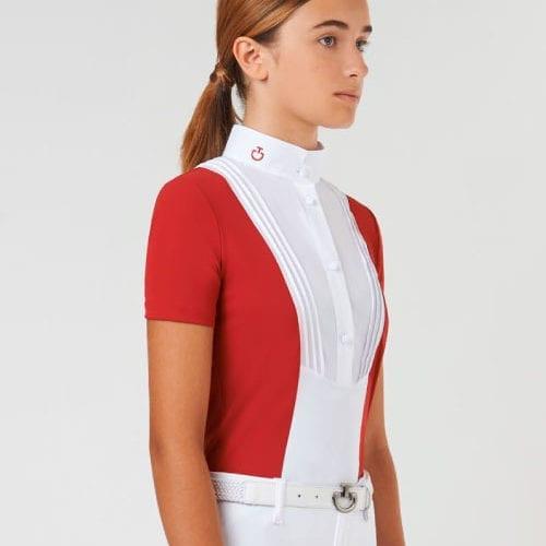 Camisa de concurso roja para niña modelo Young Rider de Cavalleria Toscana