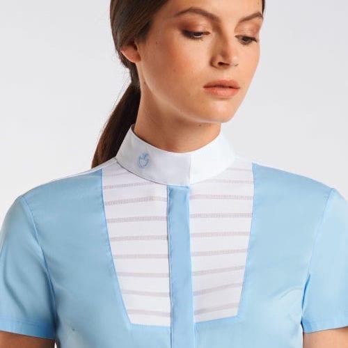 Camisa azul claro con detalle blanco de pliegues en el pecho para mujer modelo Sheer Stripe de Cavalleria Toscana