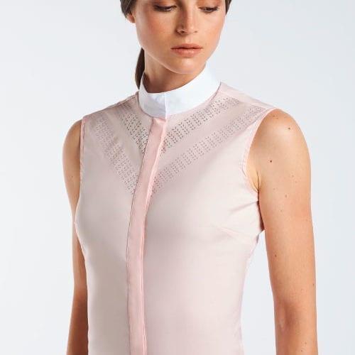 Camisa perforada en doble V rosa sin mangas para mujer modelo Perforated double V sleeveless de Cavalleria Toscana