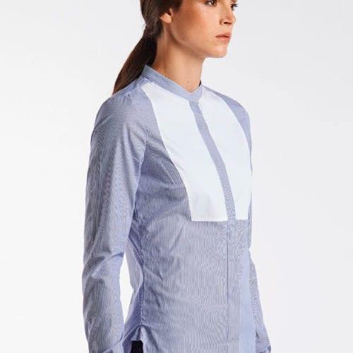 Camisa mujer de popelín de rayas Color Azul de Cavalleria Toscana