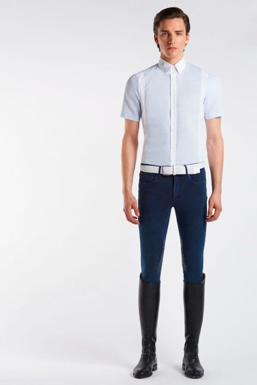 Camisa de competición de algodón para hombre Color Azul de Cavalleria Toscana