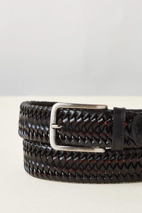 Cinturón marrón de piel trenada con detalles intercalado en naranja para hombre modelo Stretch Stripe de Cavalleria Toscana