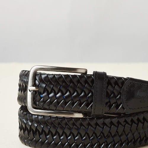 Cinturón negro de piel trenada con detalles intercalado en azul para hombre modelo Stretch Stripe de Cavalleria Toscana