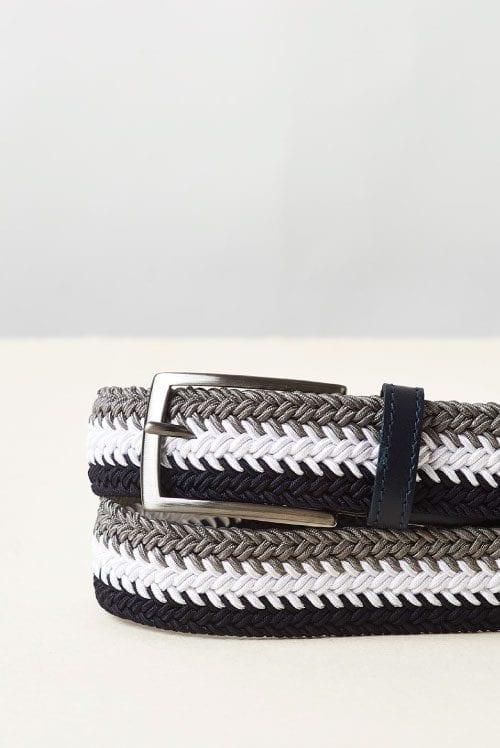 Cinturón trenzado elástico azul marino, blanco y gris para hombre modelo 3 color elastic de Cavalleria Toscana