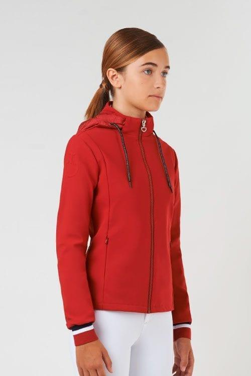 Chaqueta roja junior modelo Tennis Stripe Zip de Cavalleria Toscana