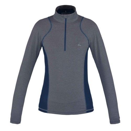 Polo gris y azul con cremallera para entrenar y con manga larga para mujer modelo Edzell de Kingsland