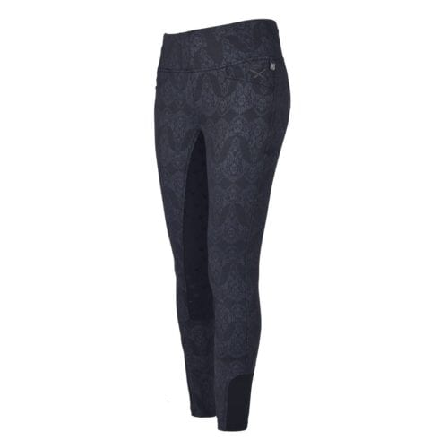 Pantalones full grip negros con estampado gris para mujer modelo Evelyn de Kingsland