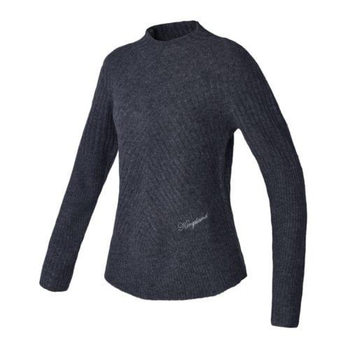 Jersey de punto gris oscuro con textura de rayas oblicuas para mujer modelo Frias de Kingsland