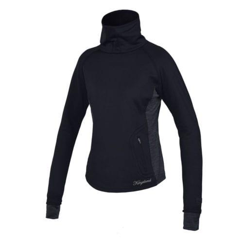 Jersey negro de lana con cuello alto para mujer modelo Rivadovia de Kingsland