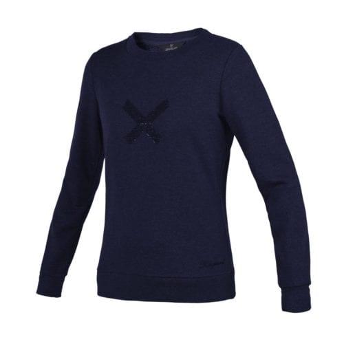 Jersey azul marino con X en el pecho y tejido brillante para mujer modelo Olavarria de Kingsland