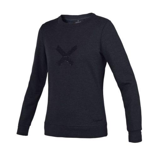 Jersey gris oscuro con X en el pecho y tejido brillante para mujer modelo Olavarria de Kingsland