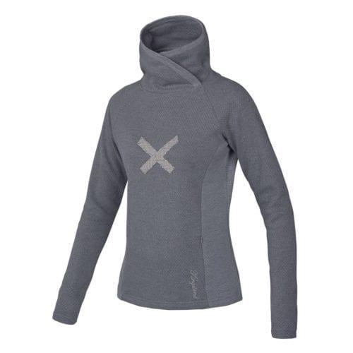 Jersey gris de cuello alto con detalle en X brilante en el pecho para mujer modelo Cafayote de Kingsland