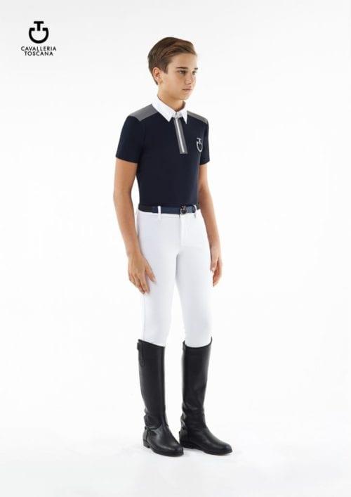 Polo de tejido técnico azul marino con cremallera para niño modelo Jersey insert zip de Cavalleria Toscana
