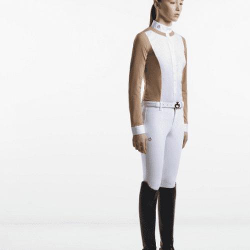 Camisa de montar marrón claro y blanca para niña de Cavalleria Toscana