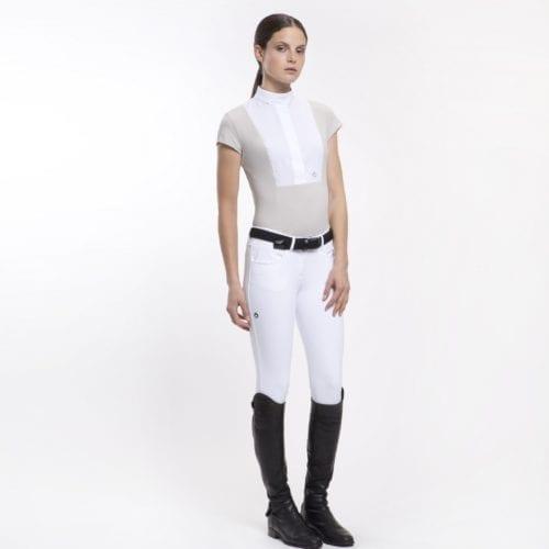 Camisa perforada blanca con zonas en blanco roto para mujer modelo Perforated de Cavalleria Toscana