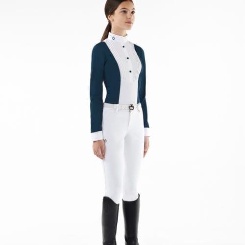 Camisa de montar azul marino y blanca para niña modelo Rider with bib de Cavalleria Toscana