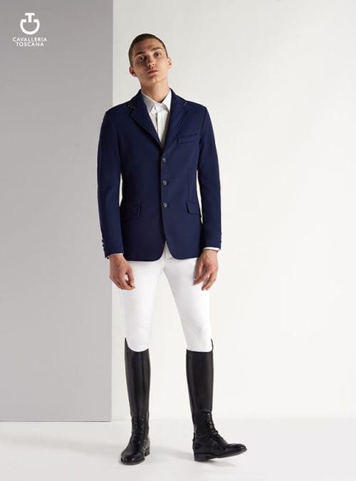 Americana de montar azul marino con cuello de punto a rayas para hombre de Cavalleria Toscana