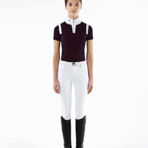 Polo color berenjena con cremallera para niña modelo Jersey insert zip de Cavalleria Toscana