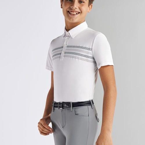 Polo de competición perforado blanco con detalles grises para niño de Cavalleria Toscana