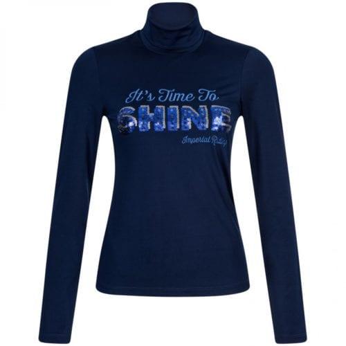 2aa7dc65d Camiseta en tejido técnico azul marino con lentejuelas azules y plateadas y  cuello alto para niña modelo Spotted de Imperial Riding