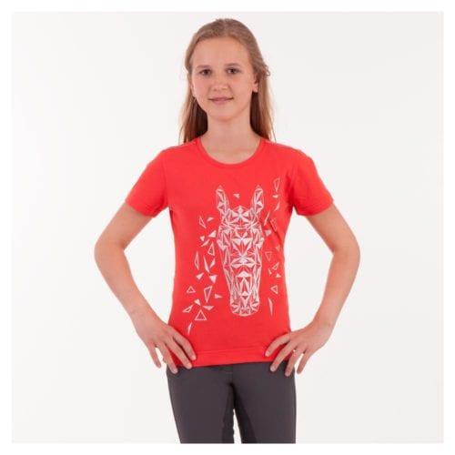2d5ea7b62 Camiseta roja con dibujo abstracto geométrico de un caballo en la parte  delantera para niña modelo ATK171301 de Anky