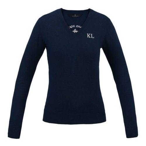 Jersey con cuello en V de punto para mujer modelo Leipzig Color Azul de Kingsland