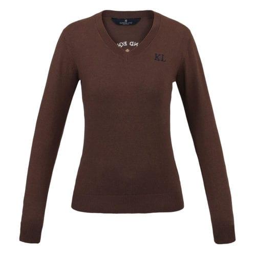 Jersey con cuello en V de punto para mujer modelo Leipzig Color Marrón de Kingsland