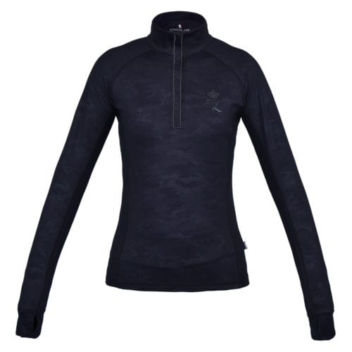 Camiseta de entrenamiento manga larga para mujer modelo Jennifer 1/2 Zip Training Shirt Color Negro de Kingsland