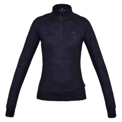 Camiseta de entrenamiento manga larga para mujer modelo Jennifer 1/2 Zip Training Shirt Color Negro de Kingsland