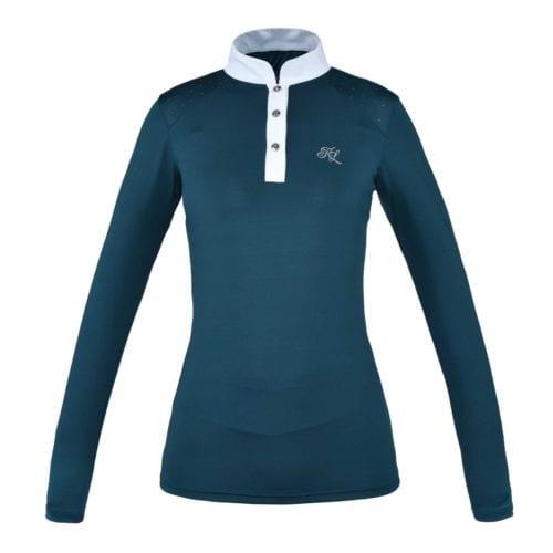 Camisa de competición de manga larga azul para mujer modelo Miranda de Kingsland