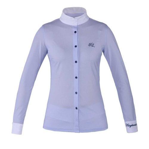 Camisa de competición de manga larga azul para mujer modelo Fortuna de Kingsland