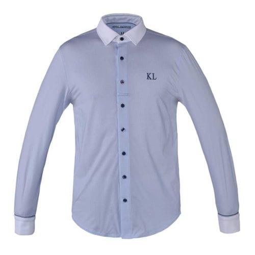 Camisa de competición de manga larga azul para hombre modelo Caple de Kingsland