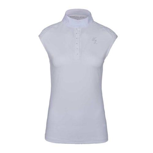 Polo de competición sin mangas blanco para mujer modelo Olivetta de Kingsland
