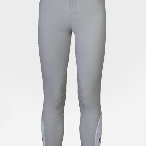 Pantalones con grip en las rodillas para junior modelo Perforated Flap Color Gris de Cavalleria Toscana