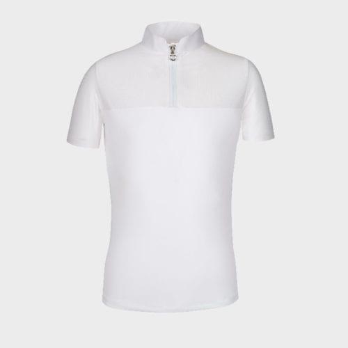 Polo con cremallera mangas y espalda perforada Color Blanco de Cavalleria Toscana