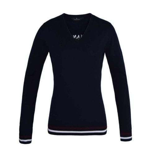 Jersey de cuello de pico azul marino para mujer modelo Sudbury de Kingsland