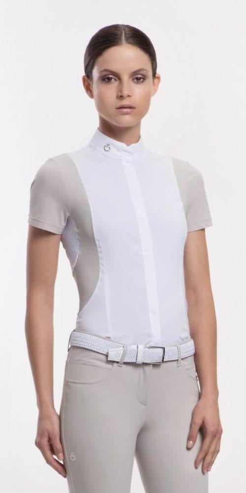 Camisa de competición elástica para mujer modelo Net Color Blanco de Cavalleria Toscana