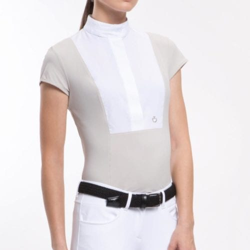 Camisa perforada con zonas en blanco roto para mujer modelo Perforated Color Azul marino de Cavalleria Toscana