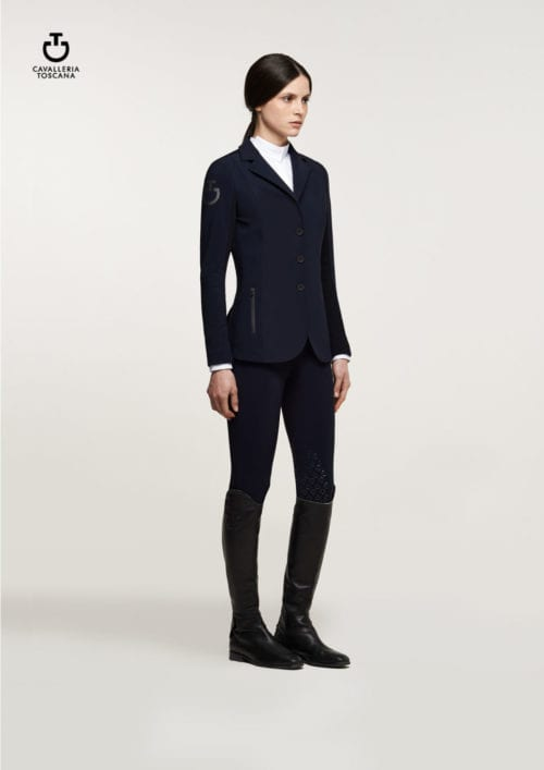 Americana de concurso de tejido técnico para mujer modelo Knit Riding Color Azul marino de Cavalleria Toscana