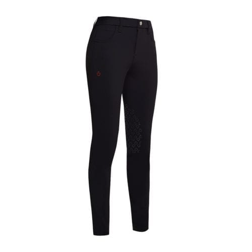 Pantalones con grip en las rodillas para niña modelo Degradè Perforated Color Negro de Cavalleria Toscana