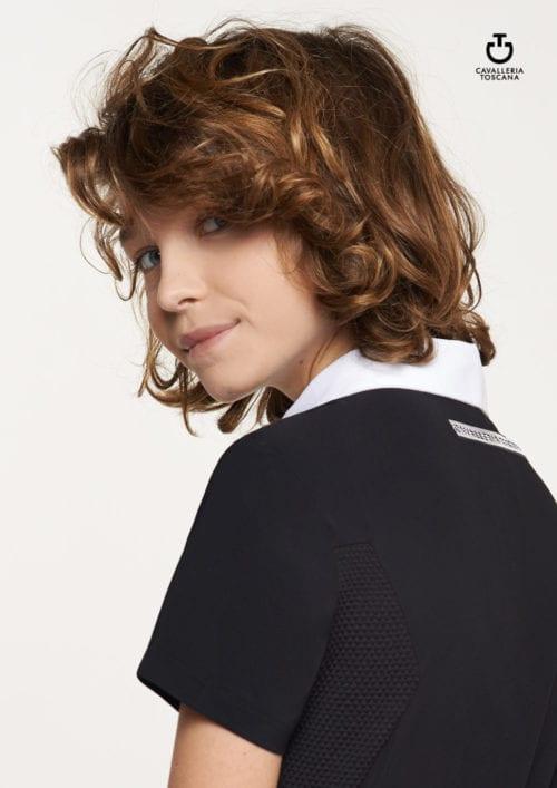 Polo de tejido técnico manga corta para niña Color Negro de Cavalleria Toscana